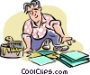 Vector Clip Art graphic  of a Man laying tiles