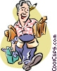 Man moving lumber Vector Clip Art picture