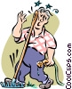 man stepping on a rake Vector Clipart graphic