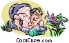 man spraying insecticide Vector Clipart picture