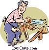 Vector Clip Art graphic  of a Man sawing wood