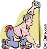 Vector Clipart picture  of a Man using tape measure