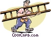 Vector Clip Art picture  of a Man with a ladder