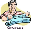 Vector Clipart image  of a man reading blueprints