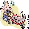 Man with wheelbarrow of cement Vector Clipart picture