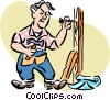 Vector Clipart graphic  of a Man at work with hammer and