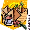 pyramids with coffee beans and espresso Vector Clipart graphic