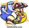 Vector Clip Art image  of a Beach with surf and umbrellas