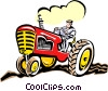 Vector Clipart illustration  of a Farmer on tractor
