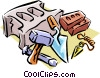 Vector Clip Art image  of a brick layer's tools