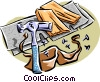 Vector Clip Art graphic  of a hammer with carpentry tools