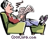 Man reading the newspaper Vector Clipart illustration