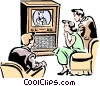 Family watching Television Vector Clipart picture
