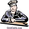 man sitting at counter Vector Clipart picture