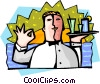 Vector Clip Art graphic  of a food and entertainment/waiter