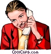 Vector Clipart picture  of a woman on phone