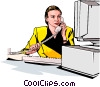 Vector Clipart illustration  of a Woman on phone