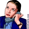 woman on phone Vector Clip Art image