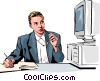 woman working at computer Vector Clipart graphic