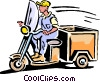 Vector Clip Art image  of a motorcycle/tricycle