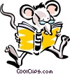 Vector Clip Art image  of a mouse reading