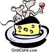 cartoon mice dining on wine and cheese Vector Clipart illustration
