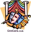 Vector Clip Art image  of a Theatre masks and stage