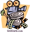 Motion picture with camera and film canisters Vector Clipart illustration