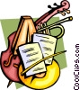 Vector Clip Art graphic  of a Classical music with instruments