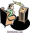 50's style radio with teenager listening to music Vector Clip Art image