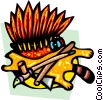 Vector Clipart graphic  of a Indian headdress with peace pipe