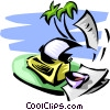 Vector Clipart picture  of a mixing work with vacation
