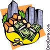 Vector Clipart image  of a monetary instruments gold