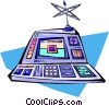 cartoon computer control console Vector Clip Art image