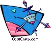 Vector Clip Art image  of a Satellite in orbit