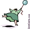 woman being pulled by balloon Vector Clipart picture