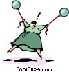 woman holding balloons Vector Clip Art picture