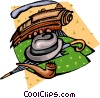Vector Clipart graphic  of a Train with hat, umbrella and pipe
