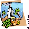 Cruise ship with palm trees and fruit Vector Clip Art picture