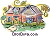 Vector Clip Art graphic  of a house fall scene