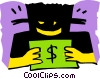 Vector Clipart image  of a modern man symbol with money