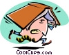 cartoon businessman with book over head Vector Clipart image