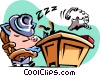 cartoon businessman/sleeping at his desk Vector Clipart image