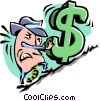 Vector Clipart image  of a cartoon businessman pushing