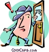 Vector Clip Art image  of a cartoon man/entering the