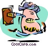 Vector Clip Art graphic  of a cartoon businessman/running