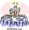 Vector Clipart image  of a dinner with candlelight and champagne
