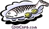 whole baked fish with lemon slices Vector Clipart image