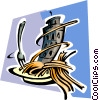 Vector Clipart picture  of a pasta dinner with Leaning Tower of Pisa
