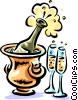 Champagne bottle chilling with glasses Vector Clip Art picture
